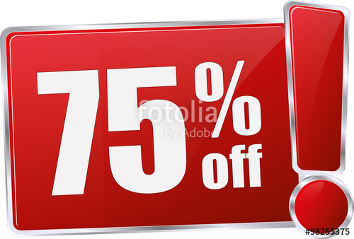 500x338 Modern Red 75% Discount Vector Sign In Red With Metallic Border