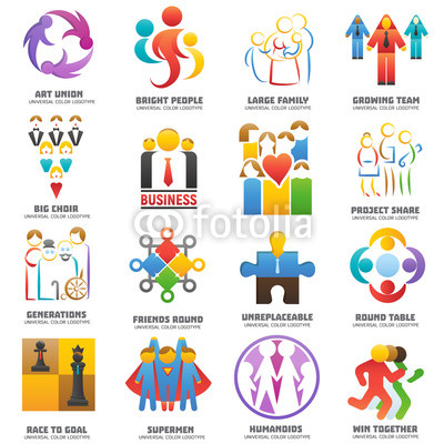 400x400 People Team Logo Vector Abstract Group Set Teamwork Union Business