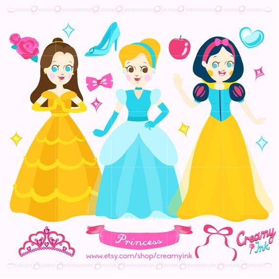 570x570 Disney Princess Digital Vector Clip Art Girls Fairytale Etsy