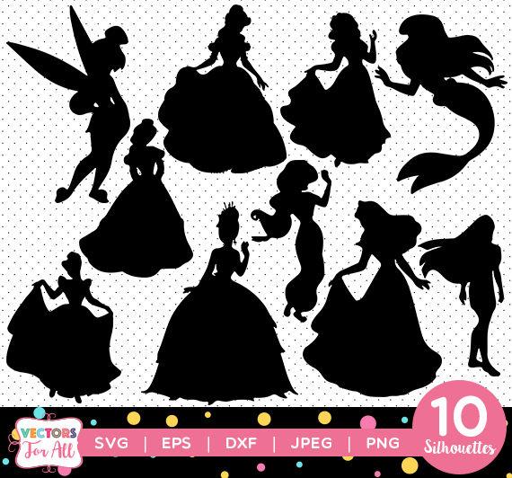 570x532 Disney Princesses Silhouettes Pack Disney Princesses Etsy