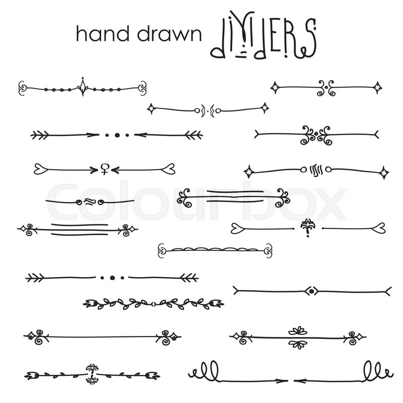 800x800 Hand Drawn Vector Dividers, Line Border Set And Design Element