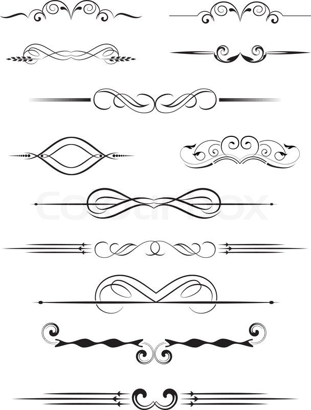 608x800 Set Of Dividers, Ornamental Rule Lines In Vintage Style. Stock
