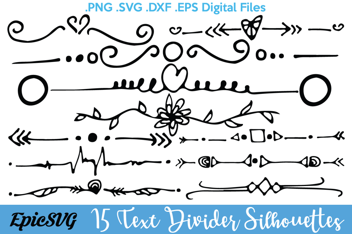 1200x800 15 Text Dividers .svg .dxf .eps Text Divider Vector Decoration