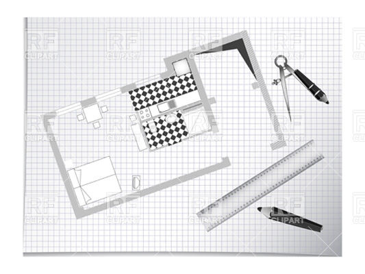 533x400 Architectural Sketch With Blue Print, Pencils And Divider Vector