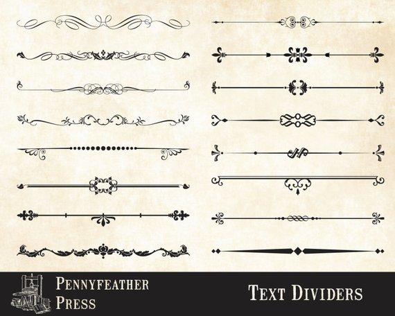 570x456 Decorative Text Dividers Clipart Text Divider Vector Graphics Etsy