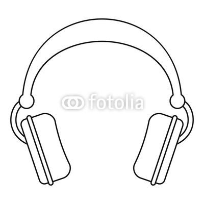 400x400 Dj Headphones Icon. Outline Illustration Of Dj Headphones Vector