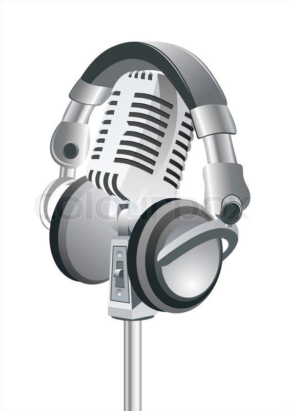 566x800 Microphone Amp Dj Headphones Stock Vector Colourbox
