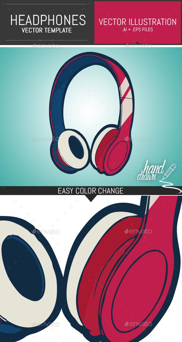 590x1108 Dj Headphones Vector Template By Dogmadesign Graphicriver