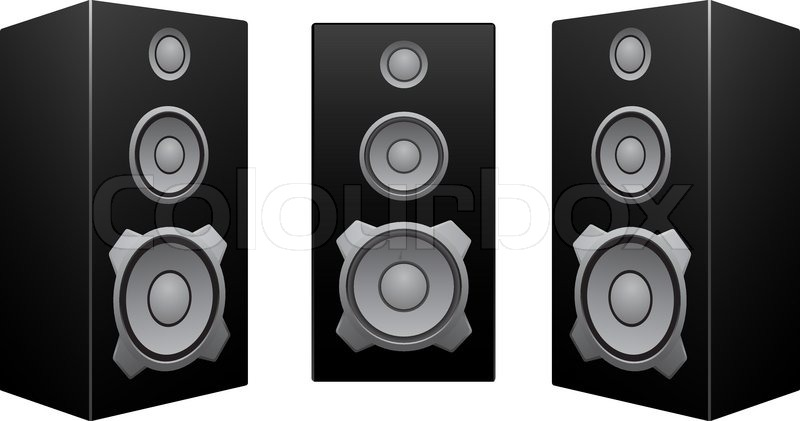 800x421 The Black 3d Speakers Isolated On The White Background Stock