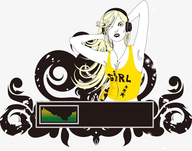 650x510 Modern Music Dj Sexy Female Pattern, Music Vector, Dj Vector