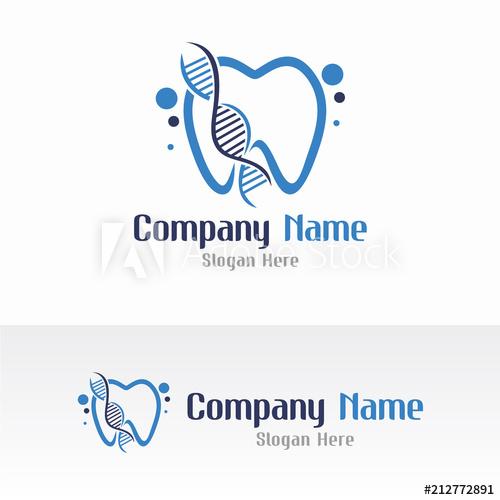 500x500 Dental And Dna Logo Vector Design Template