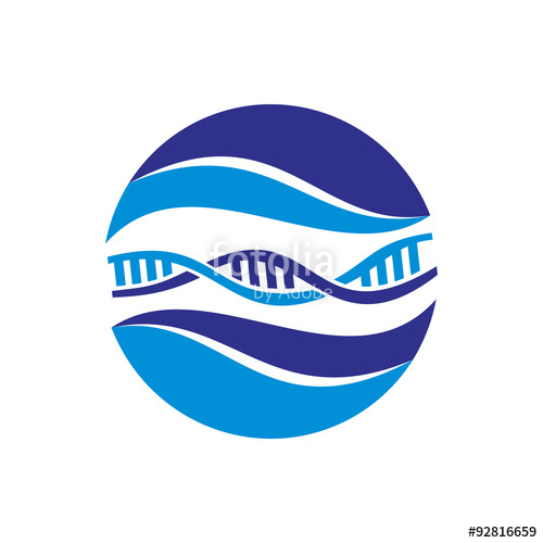 500x500 Cool Blue Wave Dna Chain Logo Icon Stock Image And Royalty Free