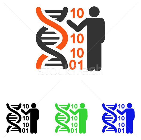 600x594 Dna Code Report Flat Vector Icon Vector Illustration Victor