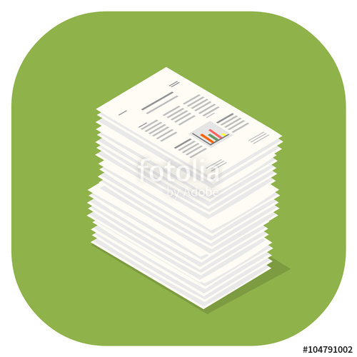 500x500 A Vector Illustration Icon Of Paper Documents. Stacked Pile Of