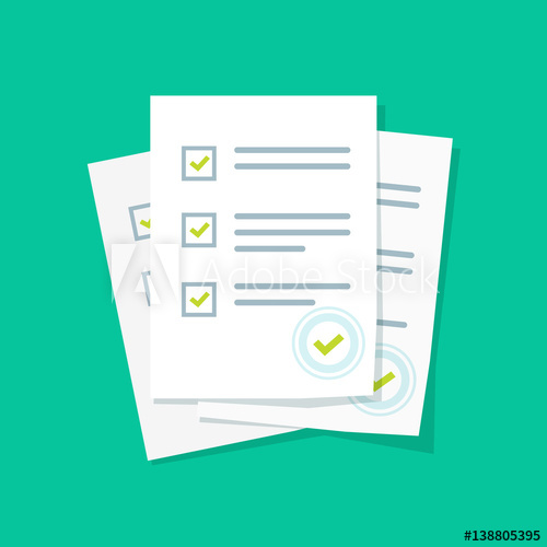 500x500 Survey Or Exam Form Paper Sheets Pile With Answered Quiz Checklist