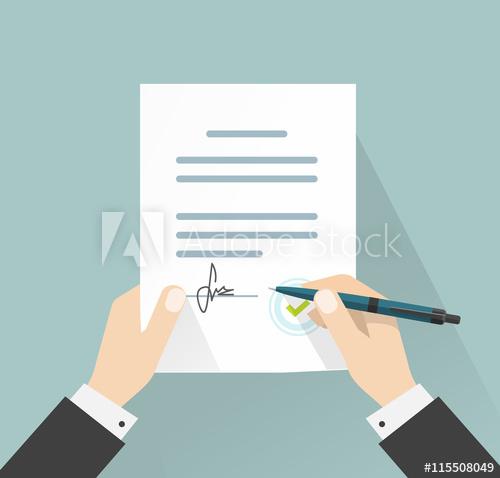 500x478 Businessman Signing Document Vector Illustration, Man Hands