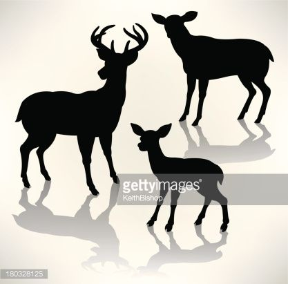 417x411 Deer Family. Graphic Silhouette Illustrations Of A Deer Family