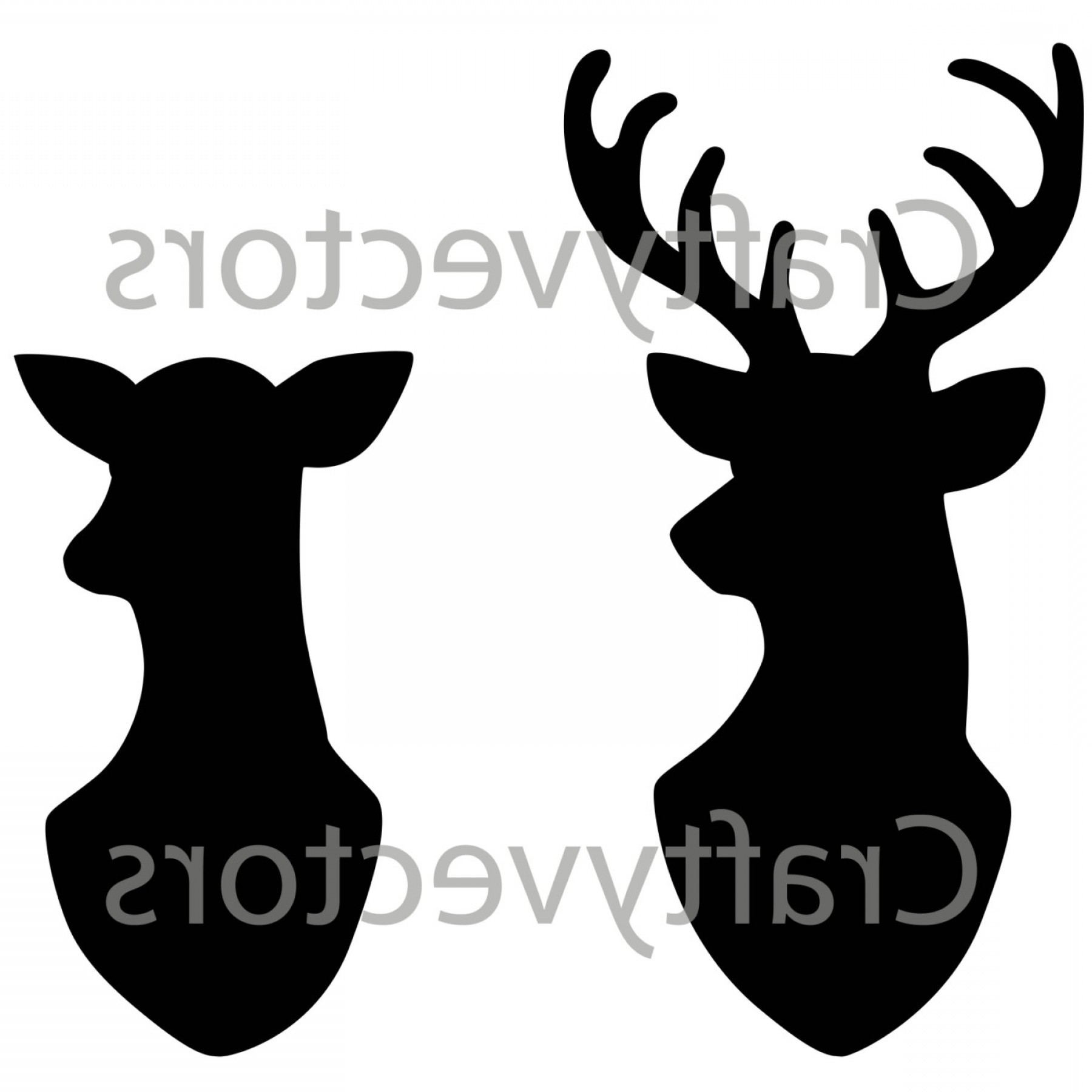 1800x1800 Stag Doe Head Silhouettes Vector File Shopatcloth