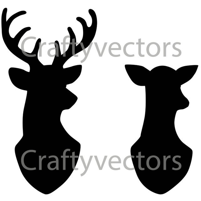 642x642 Stag Amp Doe Head Silhouettes Vector File Svg Etsy