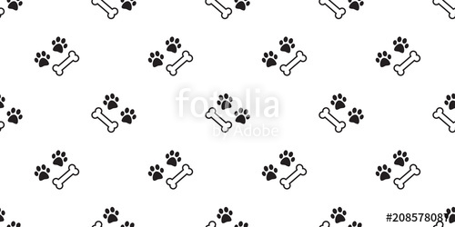 500x250 Dog Paw Seamless Pattern Dog Bone Vector Isolated Bulldog