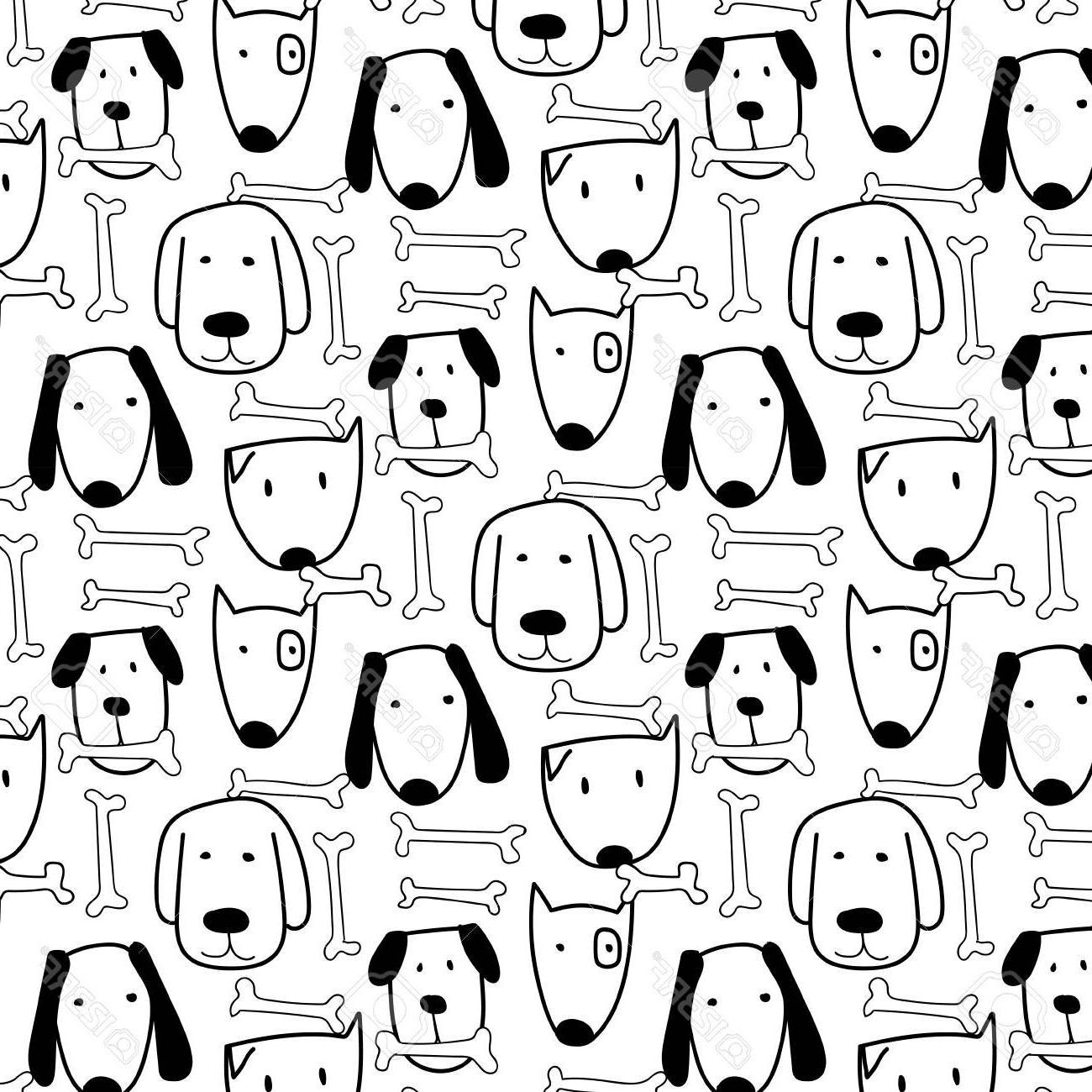 1300x1300 Best Free Hand Drawn Cute Dog And Bone Vector Pattern Doodle Art