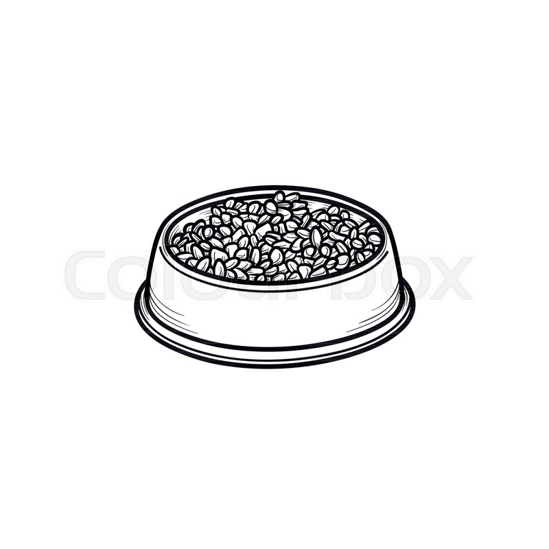 800x800 Dog Bowl Hand Drawn Outline Doodle Icon. Bowl Full Of Dog