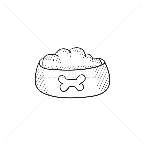600x600 Dog Bowl With Food Sketch Icon. Vector Illustration Andrei