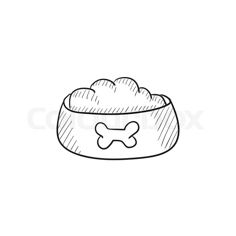 800x800 Dog Bowl With Food Vector Sketch Icon Isolated On Background. Hand
