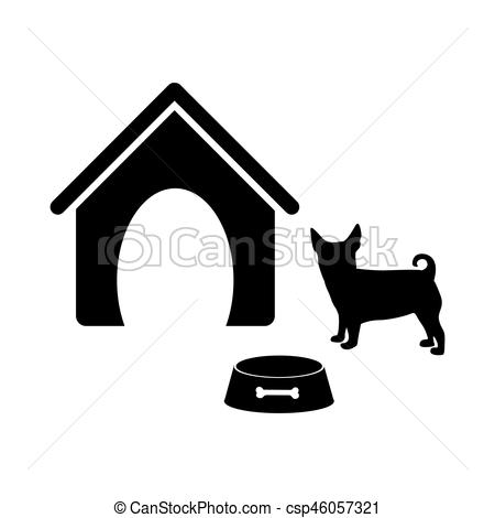 450x470 Black Silhouette Dog Animal House And Pet Bowl Set Vector