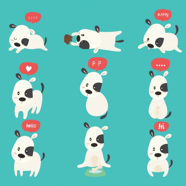 626x626 Cute Dog Cartoon Set Vector Premium Download