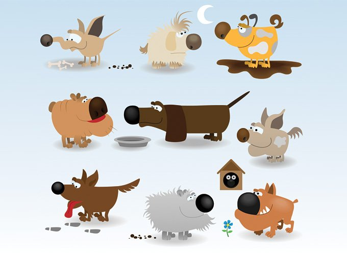 680x500 Free Funny Dog Cartoon Vector Illustrations (Free) Psd Files