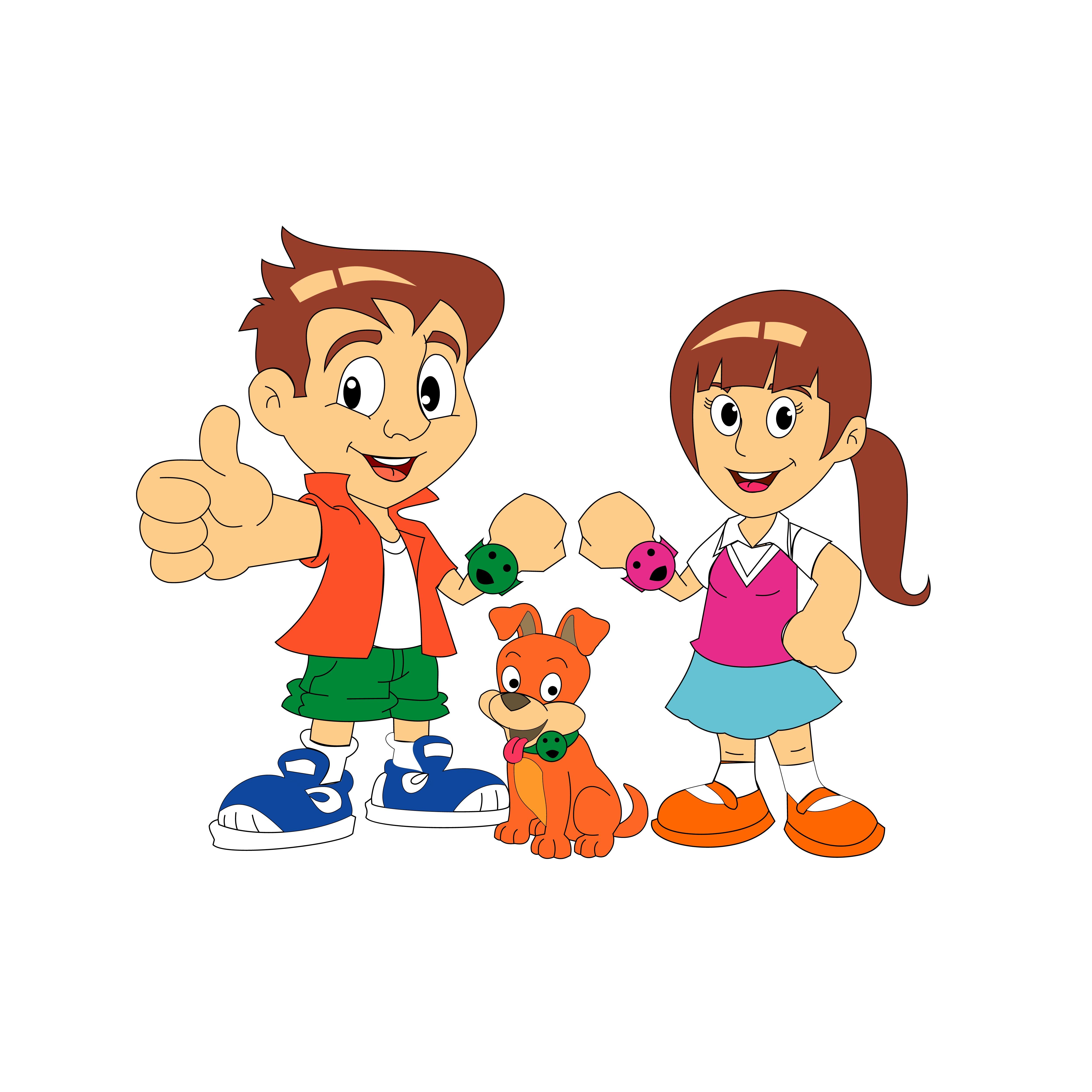 5000x5000 Kids And Dog Cartoon Vector