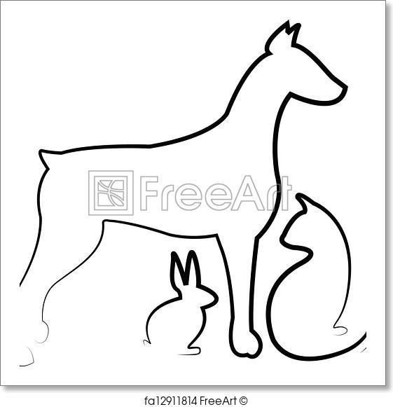 561x581 Free Art Print Of Dog, Cat ,and Rabbit Logo Vector Freeart