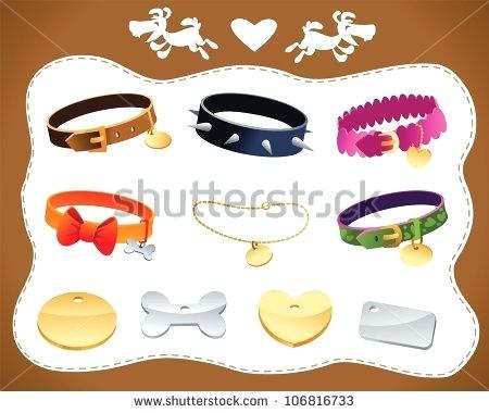 450x380 Dog Collar Clip Art Vector Set Dog Collars And Tags Dog Collar Tag
