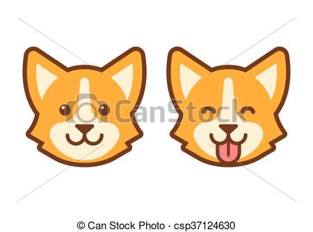 450x334 Corgi Dog Face Icon. Cute Cartoon Corgi Face. Flat Dog Head Icon