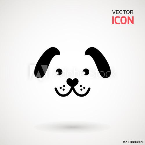 500x500 Dog Head Icon. Flat Style. Cartoon Dog Face. Vector Illustration