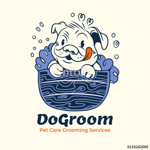 500x500 Retro Dog Grooming Logo. Dog In The Bath Clean. Pet Washing Vector