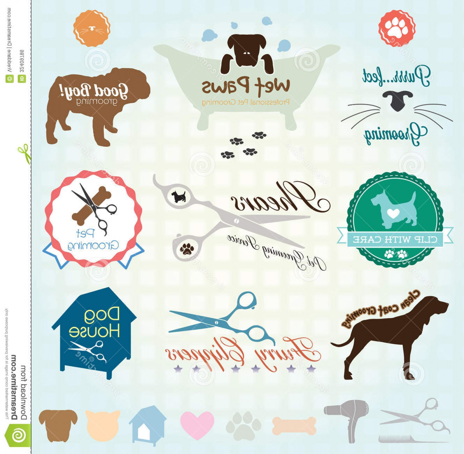 1593x1560 Royalty Free Stock Image Vector Set Pet Grooming Labels Collection