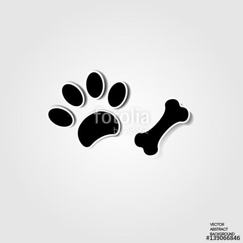 500x500 Paw Dog. Print Dog. Bone. Dog Paw. Animal. Shadow, Silhouette