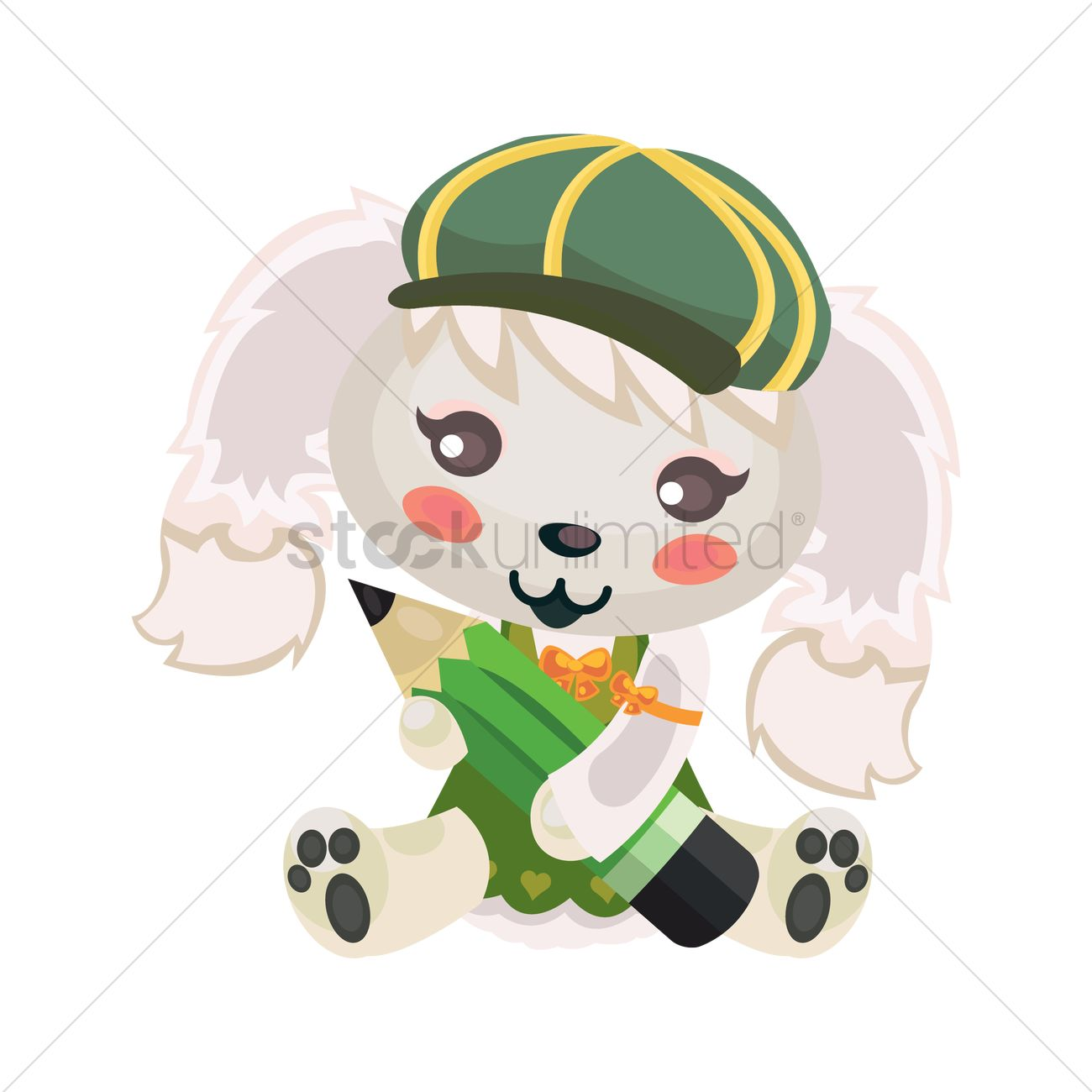 1300x1300 Dog Sitting Vector Image