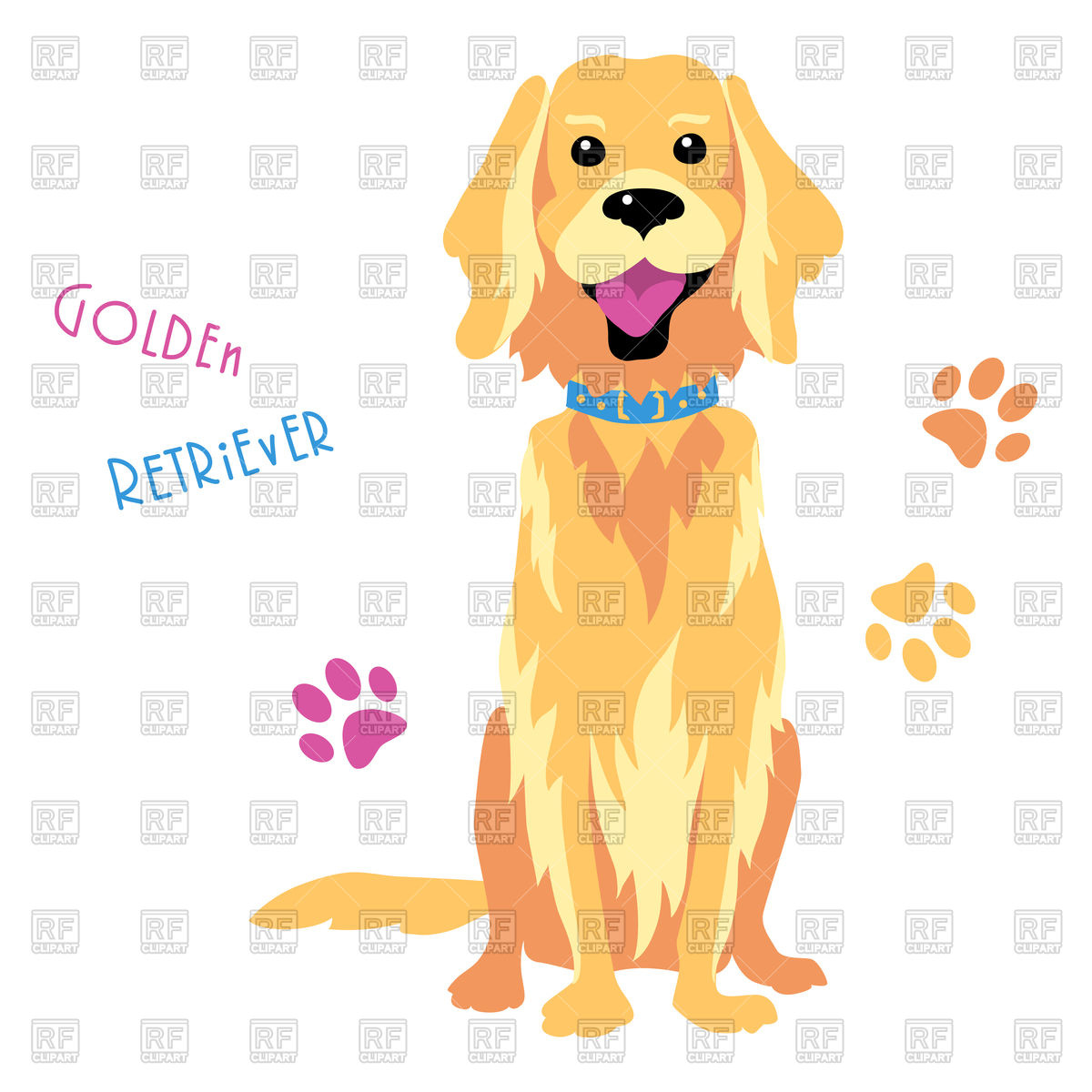 1200x1200 Funny Dog Golden Retriever Breed Sitting Vector Image Vector