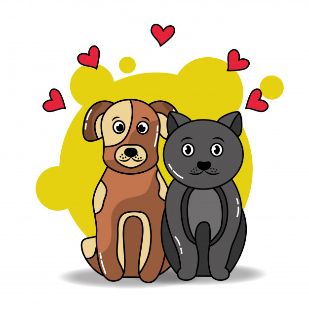626x626 Pet Cat And Dog Sitting Animals Love Friends Vector Premium Download