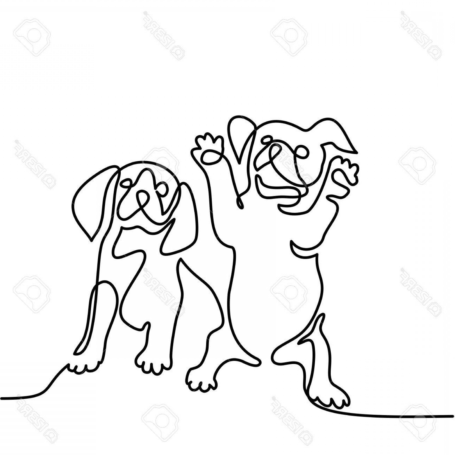 1560x1560 Photostock Vector Continuous Line Drawing Two Puppy Dogs Sitting