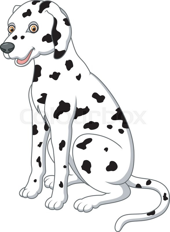 588x800 Vector Illustration Of Cute And Adorable Dalmatian Dog Sitting On