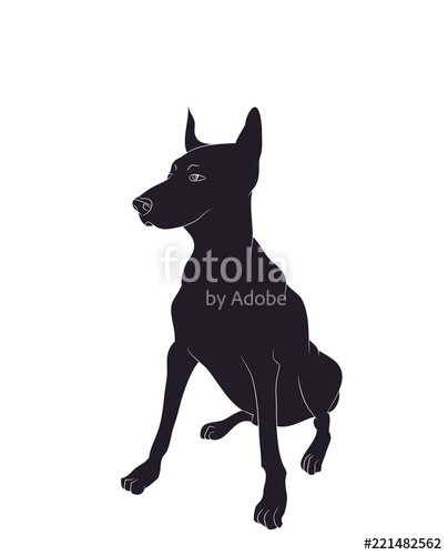 404x500 Dog Sitting, Silhouette, Vector Stock Image And Royalty Free