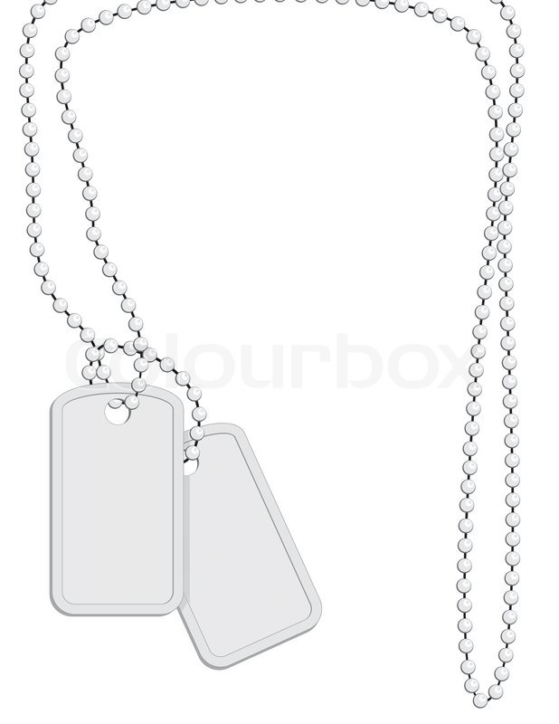 618x800 Military Identity Tag (Dog Tag, Identity Plate) With Metal Chain