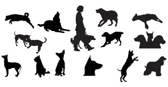 568x294 Dog Silhouettes Free Vector 123freevectors