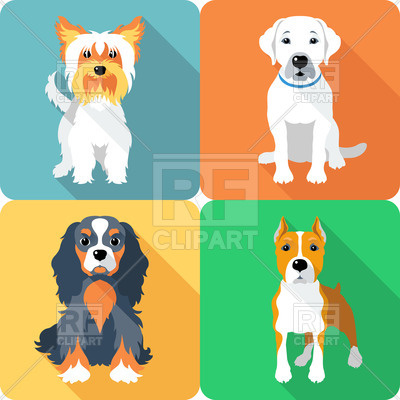 400x400 Flat Icons With Dogs Vector Image Vector Artwork Of Plants And