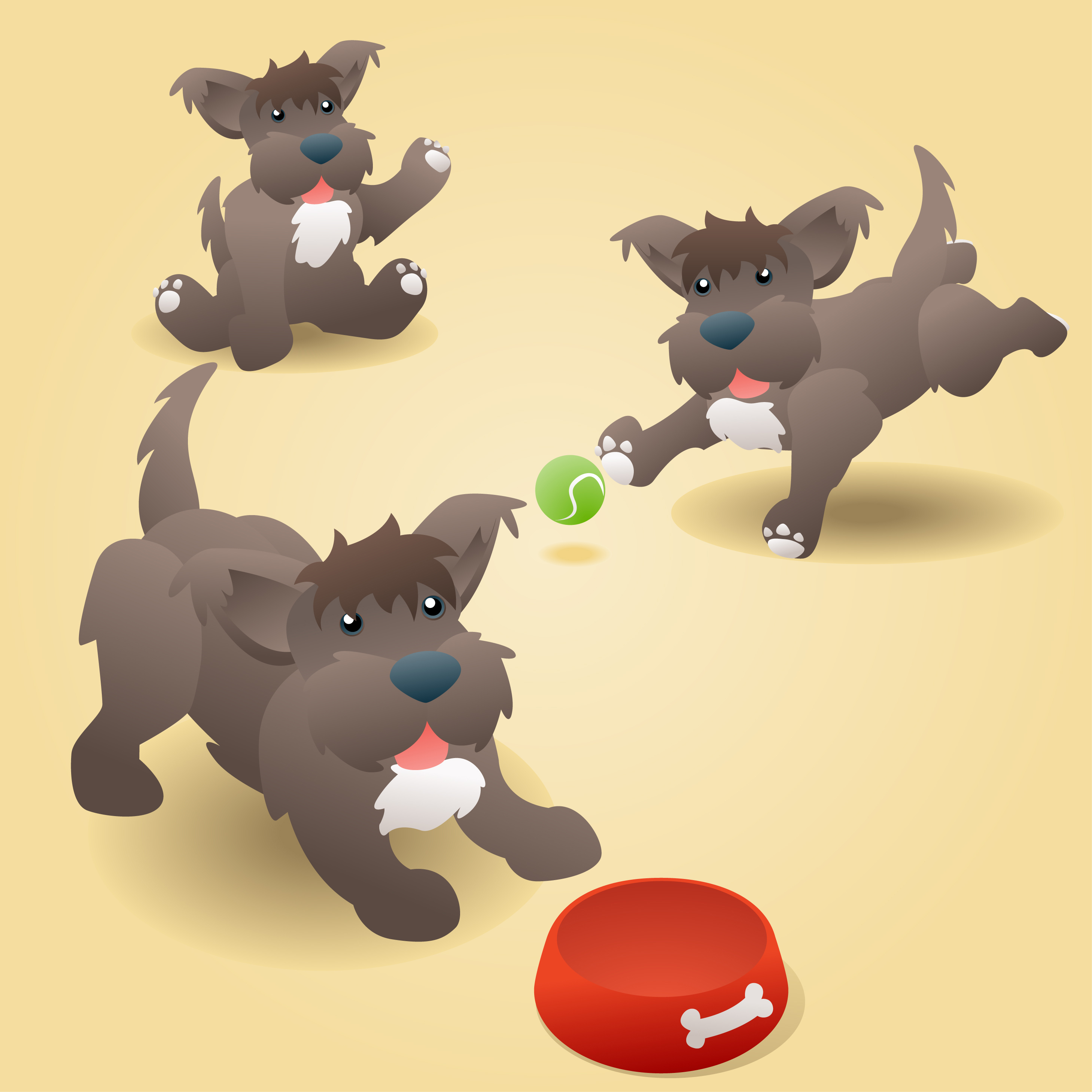 2917x2917 Cute Puppy Dog Vector Illustration Of A Cute Brown Puppy Terrier