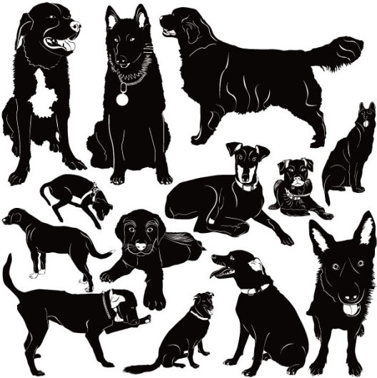 528x529 Different Dog Vector Silhouettes Graphic Free Vector In
